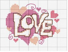 Hippie love hearts free cross stitch chart