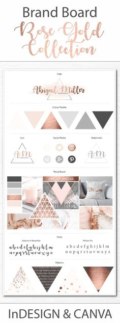 Make your brand look extra professional with this amazing Rose Gold Collection Brand Board Template. The template is available for Adobe Indesign and Canva so you can look amazing no matter your skill level. Get it today! #brandboard #branding