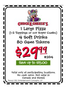 Follow Chuck E. Cheese to fun and use your Chuck E. Cheese promo codes to save money on a family day out or a birthday party your child will love.