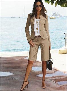 Bermuda Shorts Outfit, Summer Shorts Outfits, Spring Outfits, Mode Outfits, Short Outfits, Casual Outfits, Fashion Outfits, Casual Wear, Suits For Women