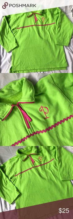 "🌼Monogrammed lime green pullover, size L (10-12) 💚💖 CUTE Kelly's Kids lime green pullover with hot pink monogrammed ""P"" 💓. Hot pink zipper with ribbon pull and ric rak around the front. Fleece lining will make this a perfect go to jacket in the cooler months! Has been worn just a handful of times and is in great condition! Comes from a smoke free home! 💚💖 Length 23 inches, bust 38 inches. Kelly's Kids Jackets & Coats"