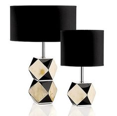 "Signature Collection: 17"" Tall Luxury Polished Buffalo Faceted Table Lamp * Black Lacquer Accents * Comprehensive Range of Partner Furniture, Lighting & Decor Available"