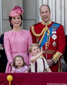 whatkatewore: Trooping the Colour 2017, June 17, 2017-The Cambridges-William, Catherine, George and Charlotte