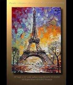 ORIGINAL abstracto contemporáneo Torre Eiffel óleo pesado espátula textura por Paula listo para colgar