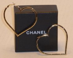 Authentic RARE CHANEL Big Heart Hoop Earrings
