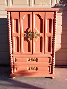 Coral and Gold Armoire by ABitOWhimsy on Etsy, $350.00