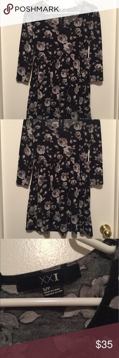 Black and gray long sleeve dress with roses Great condition! Beautiful flattering long sleeved dress with black fabric with grey roses on it. Very elegant and unique. Fits true to size Forever 21 Dresses Long Sleeve