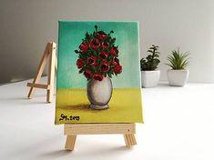 MS_art / Vlčie maky vo váze - miniatúrna maľba Planter Pots, Fantasy, Halloween, Art, Craft Art, Imagination, Kunst, Gcse Art, Fantasia