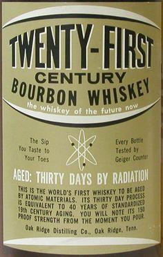 """Frisky Whiskey"": Aged 30 days by radiation"