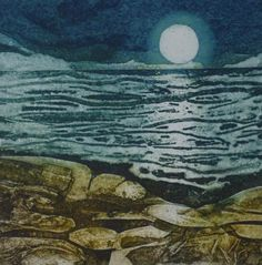 Dipped Lights - collagraph by Ross Thompson Prints Modern Oil Painting, Painting Prints, Art Prints, Oil Paintings, Collagraph Printmaking, Sea Life Art, Encaustic Art, Art Techniques, Landscape Art