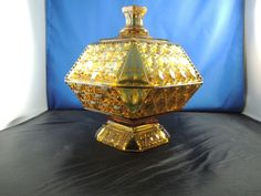 """EAPG """"Valencia Waffle"""" pattern #85 AKA """"Block and Star"""" """"Hexagonal Block"""" Amber Covered Compote made by  Adams & Co. circa 1885, 8.25""""H x 7""""W Amber Glass, Valencia, Waffles, Pottery, Star, Antique, Cover, Home Decor, Ceramica"""
