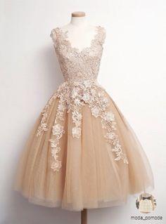 Retro tulle lace short prom dresses, formal dresses