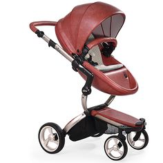 Mima Xari - Sicilian Red Seat, Sandy Beige Starter Pack | The only stroller made with leatherette fabric, the Mima Xari is more than a pretty face. With a chic design and advanced features, this highly-customizable stroller strikes the perfect balance of fashion and functionality.