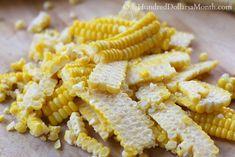 How to Freeze Fresh Corn - One Hundred Dollars a Month Freezer Corn Recipe, Frozen Corn Recipes, Freezing Fresh Corn, Pizza Monkey Bread, Caviar Recipes, Fresh Vegetables, Veggies, Cowboy Caviar, Canning Recipes