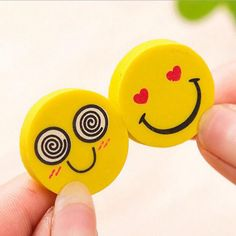 4pcs Emoji Rubber Pencil Eraser Students Kids Stationery Tools Yellow Color Hot #unbranded