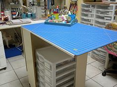 Fold-able cutting table for sewing room.