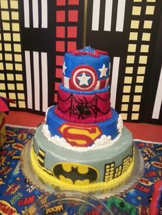 Cake at a Superhero Party first birthday idea? Batman Party, Superhero Birthday Party, Boy Birthday Parties, 4th Birthday, Wedding Superhero, Birthday Cakes, Fancy Cakes, Cute Cakes, Superhero Cake