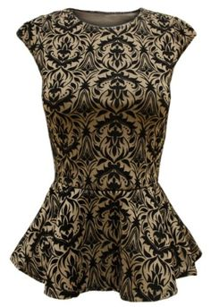 ENVY BOUTIQUE LADIES WOMENS BLACK BAROQUE PAISLEY PRINT BODYCON PEPLUM TOP - Peplum Dress