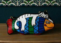 сумка кот и рыба из кожи