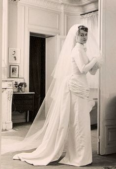 Brigitte Bardot, (18), on her wedding day - 21 December, 1952 - On her way to merry her first husband, Roger Vadim, at the Church of Passy in Paris