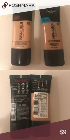 L'Oréal PRO-MATTE AND PRO-GLOW FOUNDATIONS 2 L'Oréal foundations, which are both full and we're only used about twice each! 2 for the price of 1. L'Oreal Makeup Foundation