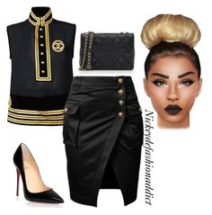 """""""Untitled #1498"""" by stylesbynickey ❤ liked on Polyvore featuring Dsquared2, Christian Louboutin and Chanel"""