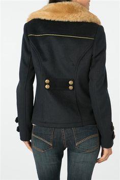 Manteau femme esprit officier col fausse fourrure