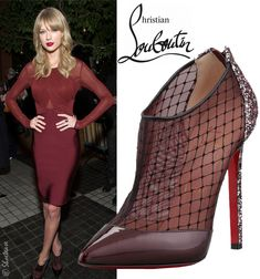 """Celebrity Shoe Style: Taylor Swift in Christian Louboutin """"Fillette"""" Mesh/Patent Burgundy Booties"""