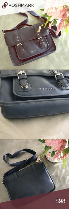 Ted Baker briefcase Blue leather briefcase with adjustable strap, padded laptop area and silky lining. Ted Baker Accessories Laptop Cases