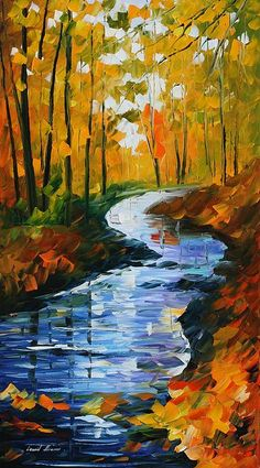 Autumn Stream Painting by Leonid Afremov.