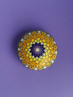 Hand Painted Mandala Stone by DigsGroove on Etsy