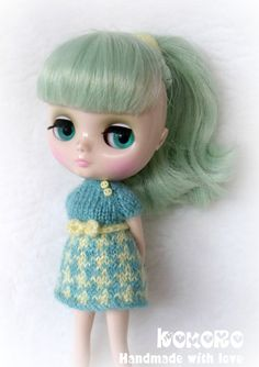 Blythe Middie Hand Knitted Dress Jacquard Pattern by kokorogumis, $13.00
