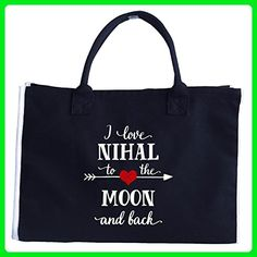 I Love Nihal To The Moon And Back.gift For Boyfriend - Tote Bag - Top handle bags (*Amazon Partner-Link)