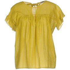 Angela Davis Blouse (415 AED) ❤ liked on Polyvore featuring tops, blouses, acid green, short sleeve blouse, yellow blouse, short sleeve cotton blouses, green top and yellow top