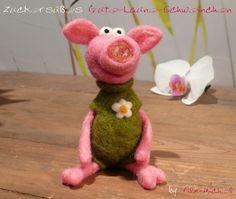 Zuckersüßes Gute-Laune-Glücks-Schweinchen, gefilzt von Filz-Michel auf DaWanda.com