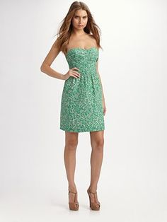 Rebecca Taylor  Lace-Print Strapless Dress