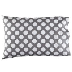 The Land of Nod | New School Grey Dot Pillowcase in Sheet Sets