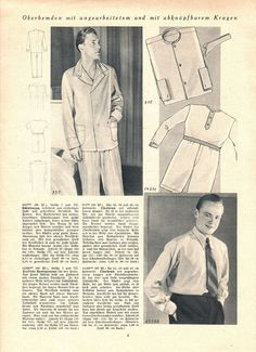 "Illustrierte Wäsche- und Handarbeits-Zeitung 1935 heft 1. Model 935: chest 44"" (112 cm). Model 14386: chest 44"" (112 cm). Model 915: neck 15"" (38 cm). Model 13588: neck 18"" (45 cm). PDF sewing patterns for these models available upon request, please contact me for more information."