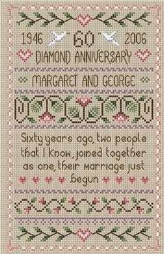 Diamond Wedding Anniversary sampler cross stitch kit