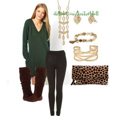 Sweater Dress with leggings and Boots - green and brown by kimberly-holt on Polyvore featuring Ganni, Topshop, rsvp, Clare V., Stella & Dot, stelladotstyle and stelladotstylist