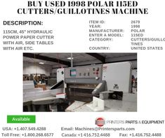 Printer's Parts & Equipment Offer Printer's Parts & Equipment Offer 1998 POLAR Cutters/Guillotines Machine at worldwide. For more nformation, call us / Cute Christmas Gifts, Cool Business Cards, Printer, Good Things, Card Ideas, Stuff To Buy, Check
