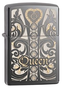 28797-000003-Z Fit for a Queen. This design incorporates floral elements with a heart poised at the top. Comes packaged in an environmentally friendly gift box. For optimal performance, use with Zippo premium lighter fluid.