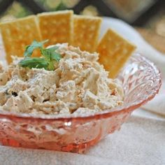 2 - 8 oz cream cheese packages - softened to room temp  1 Lg can of chicken  1 pkg (2 T) ranch dressing mix  1/4 c Salsa  Mix all together  Chill for atlease 2 hours before serving with crackers or veggies for dipping