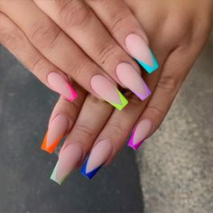 99 Adorable Pointed Nail Art Ideas That Inspiring You Creative Nail Designs for Short Nails to Create Unique Styles French Tip Acrylic Nails, French Tip Nail Designs, Best Acrylic Nails, Summer Acrylic Nails, Acrylic Nail Designs, Long French Tip Nails, French Tip Design, Colored Acrylic Nails, Colorful Nail Designs