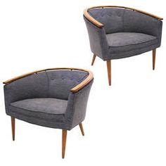 Sleek Pair of 1950s Armchairs with Walnut and Brass Detail