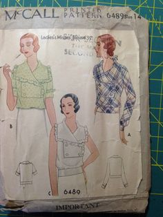 Printo Gravure 1930's McCall Ladies Blouse Sewing Pattern 6489 Size 14 Bust 32