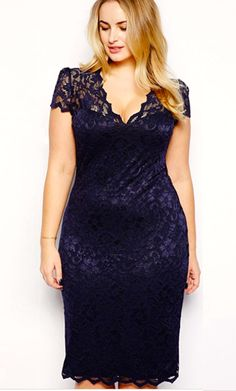 Women Plus Size Lace Short Sleeve Dress. Would love this in a long version.