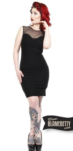 The Mary Lou Wiggle Dress in Black from is a pretty pinup style that's perfect for the office! #blamebetty #pinupdress #curves