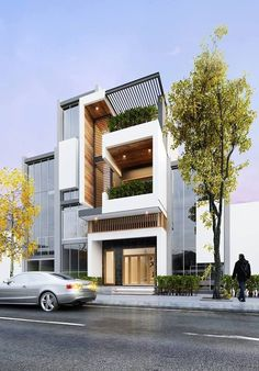 The Best Duplex House Elevation Design Ideas you Must Know Modern Townhouse, Townhouse Designs, Small House Design, Modern House Design, Modern Exterior, Exterior Design, Casas Containers, Narrow House, Duplex House