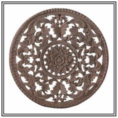 Round Wood Wall Art wooden wall carving panel. indian style wall hanging. floral wood